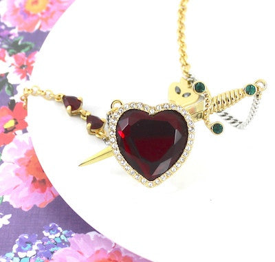 Disney Couture | Snow White Gold-Plated Red Crystal Heart & Dagger Necklace - lucylovesneko - 1