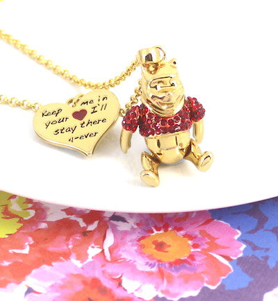 Disney Couture | Gold & Crystal Winnie the Pooh Bear Pendant Necklace - lucylovesneko - 1