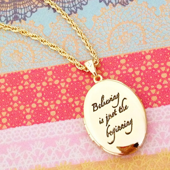 "Disney Couture | Tinkerbell ""Believing is Just the Beginning"" Locket Necklace - lucylovesneko - 1"