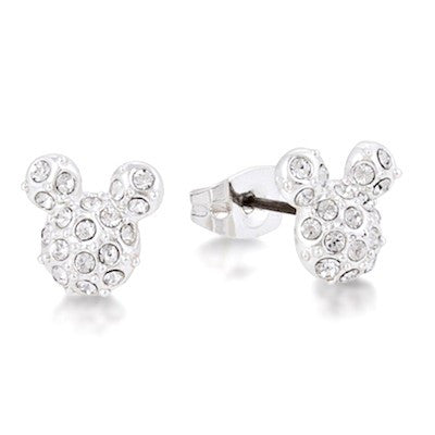Disney Couture | Silver Pave Crystal Mickey Mouse Earrings - lucylovesneko - 1