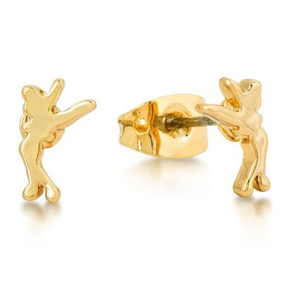 Disney Couture | Gold Little Standing Tinkerbell Stud Earrings - lucylovesneko - 1