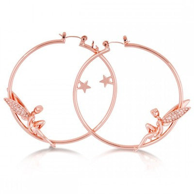 Disney Couture | Rose Gold Crystal Tinkerbell & Star Hoop Earrings - lucylovesneko - 1