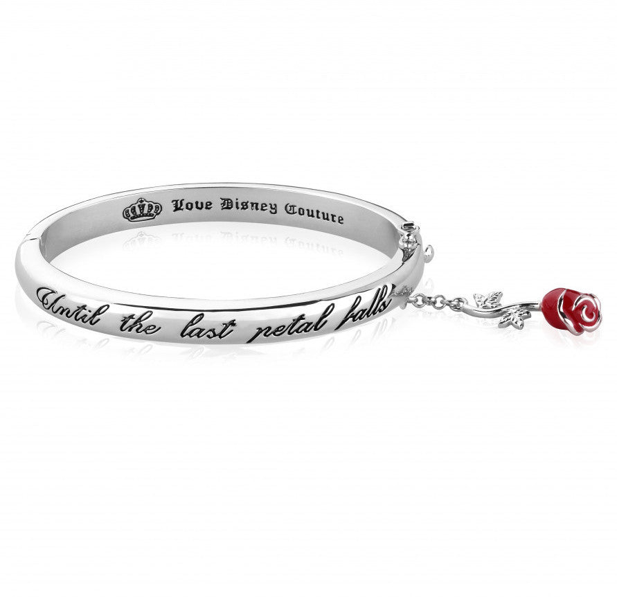 Disney Couture | Beauty & the Beast White Gold-Plated Last Petal Falls Red Rose Bracelet