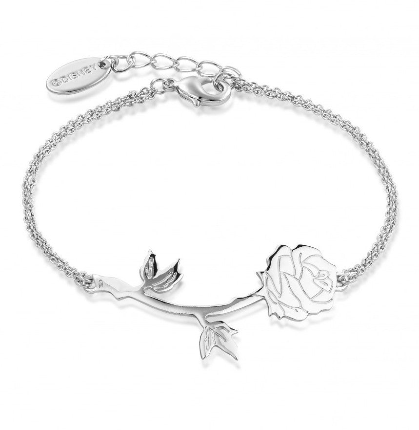 Disney Couture | Beauty & the Beast White Gold-Plated Enchanted Rose Bracelet