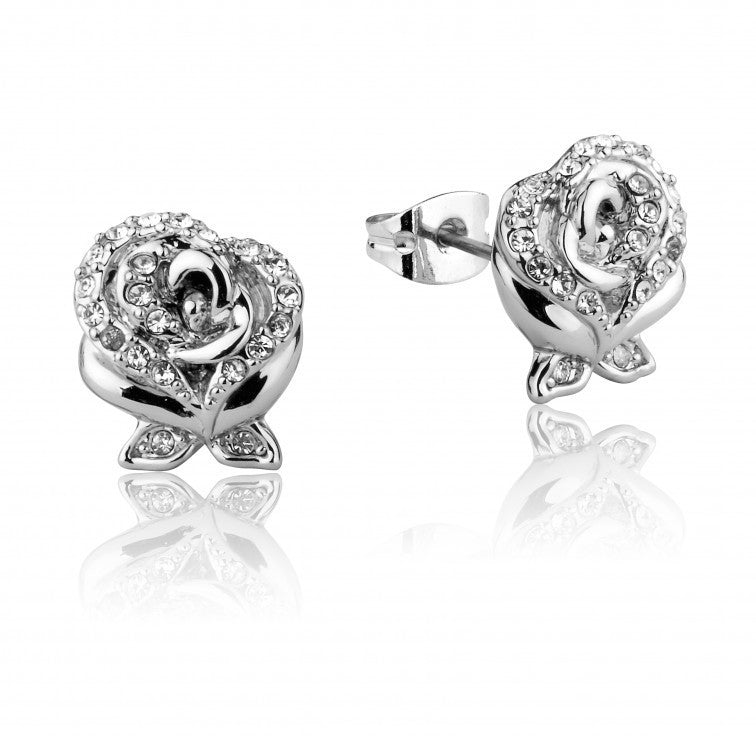 Disney Couture | Beauty & the Beast White Gold-Plated Crystal Rose Earrings
