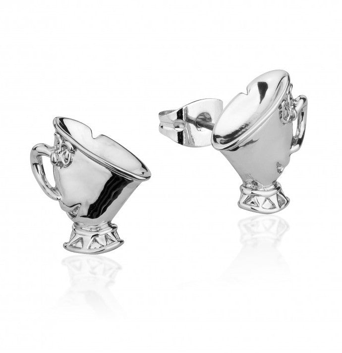 Disney Couture | Beauty & the Beast White Gold-Plated Chip Tea Cup Stud Earrings