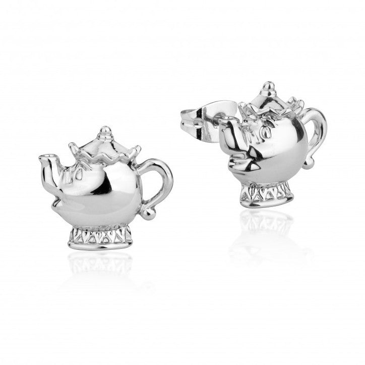 Disney Couture | Beauty & the Beast White Gold-Plated Mrs Potts Teapot Stud Earrings