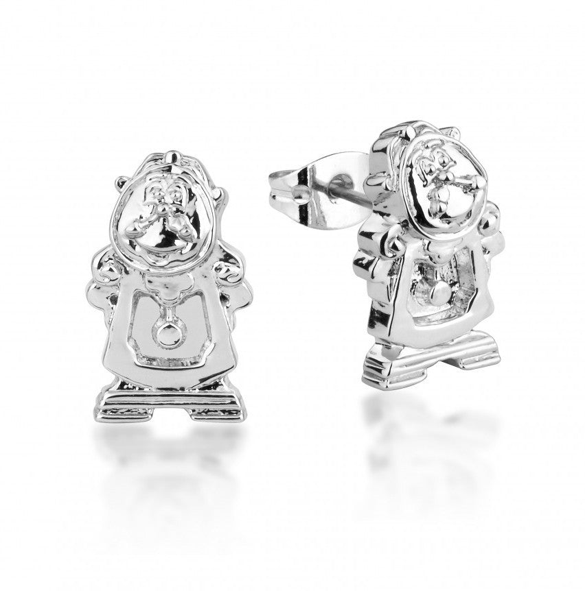 Disney Couture | Beauty & the Beast White Gold-Plated Cogsworth Clock Stud Earrings