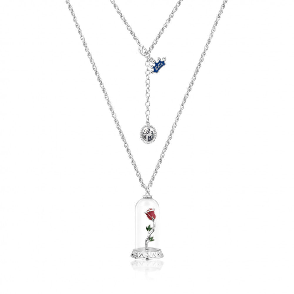 Disney Couture | Beauty & the Beast White Gold-Plated Enchanted Rose in Glass Bell Jar Necklace