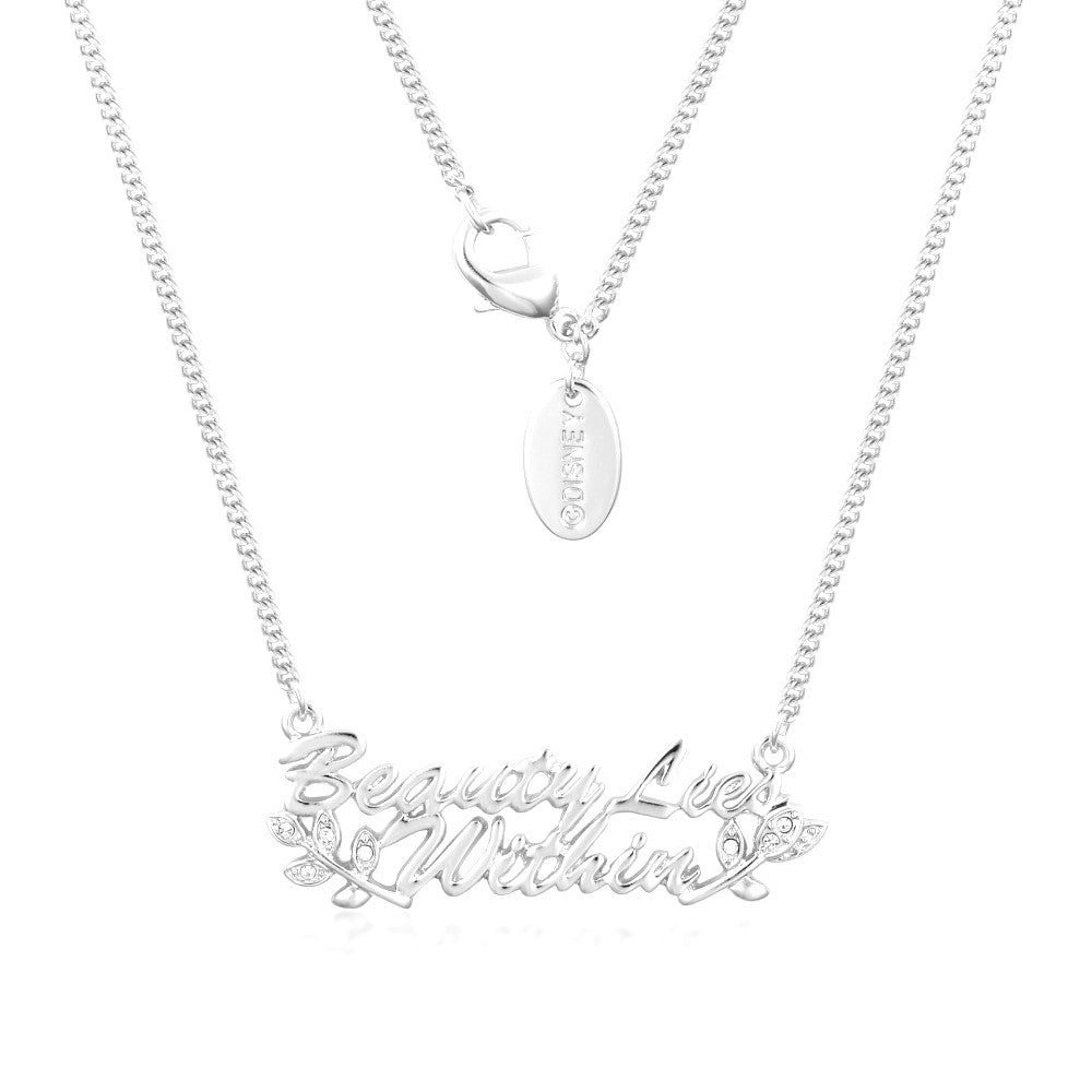 "Disney Couture | Beauty & the Beast White Gold-Plated ""Beauty Lies Within"" Necklace"