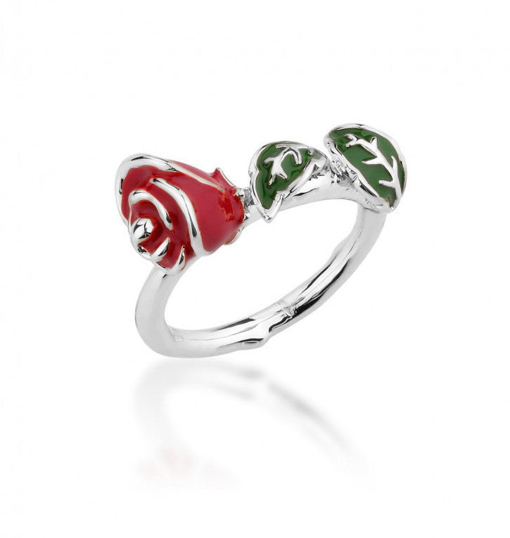 Disney Couture | Beauty & the Beast White Gold-Plated Enamel Enchanted Rose Ring