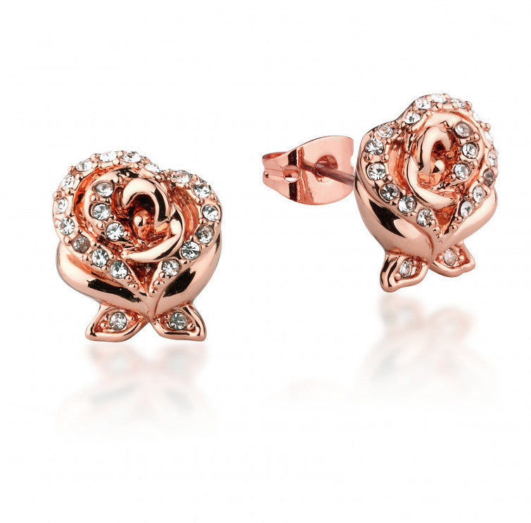 Disney Couture | Beauty & the Beast Rose Gold-Plated Crystal Rose Earrings