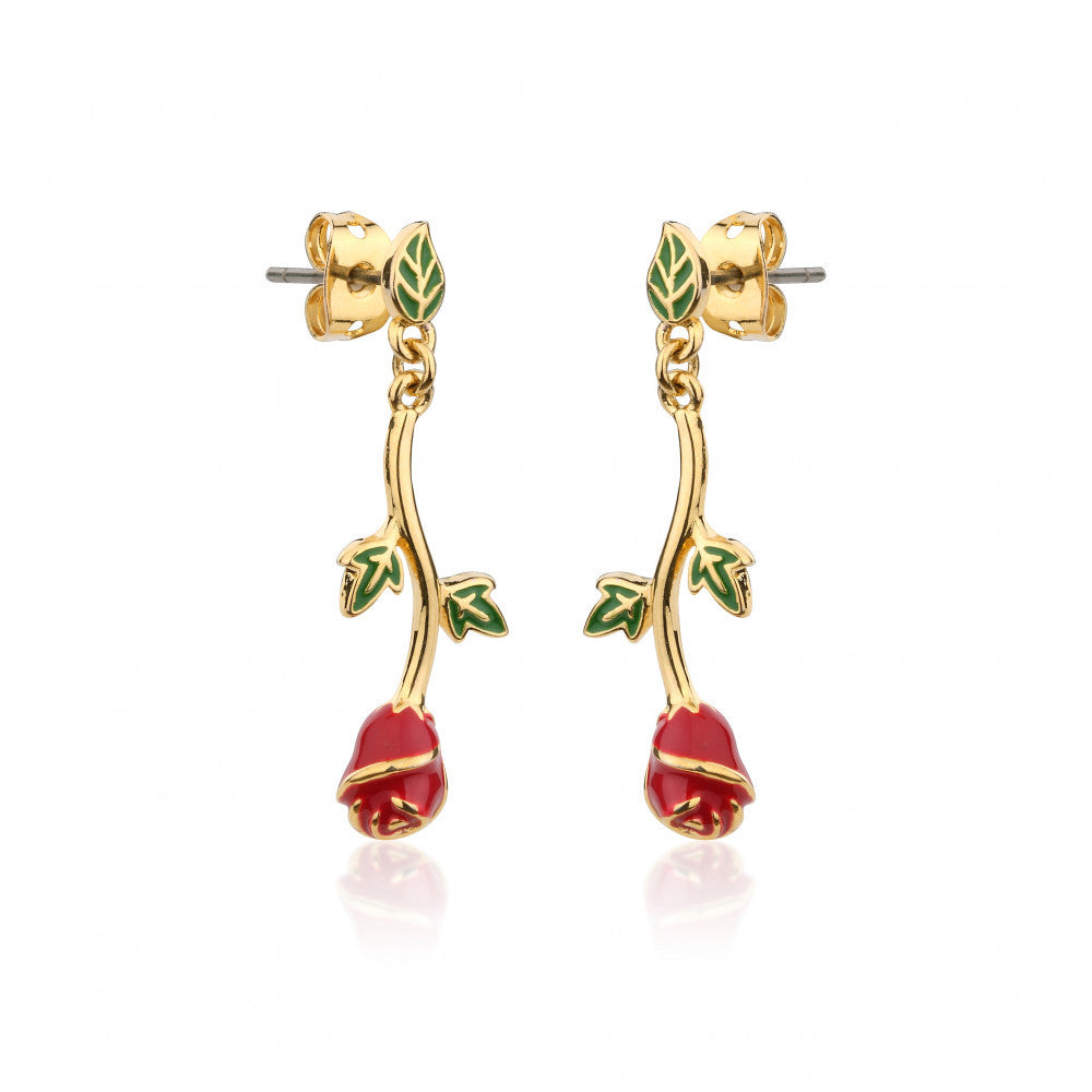 Disney Couture | Beauty & the Beast Gold-Plated Enchanted Rose Drop Earrings