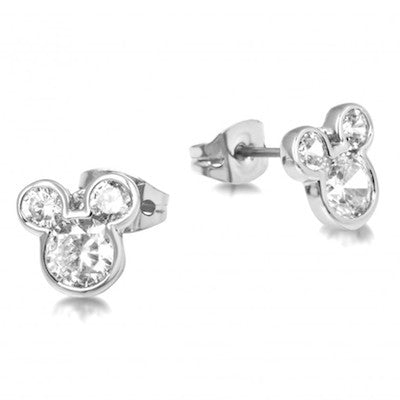 Disney Couture | Silver Crystal Mickey Mouse Stud Earrings - lucylovesneko