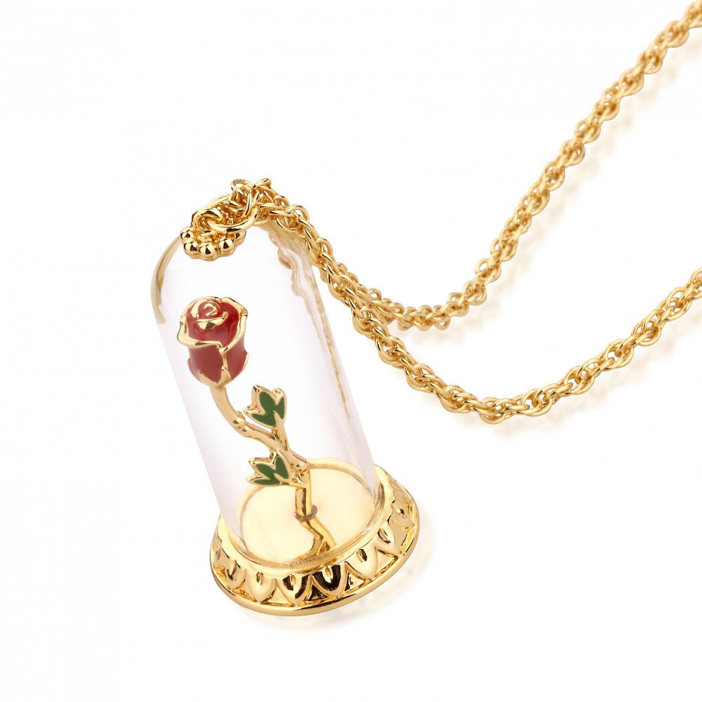 Disney Couture | Beauty & the Beast Gold-Plated Enchanted Rose in Glass Bell Jar Necklace