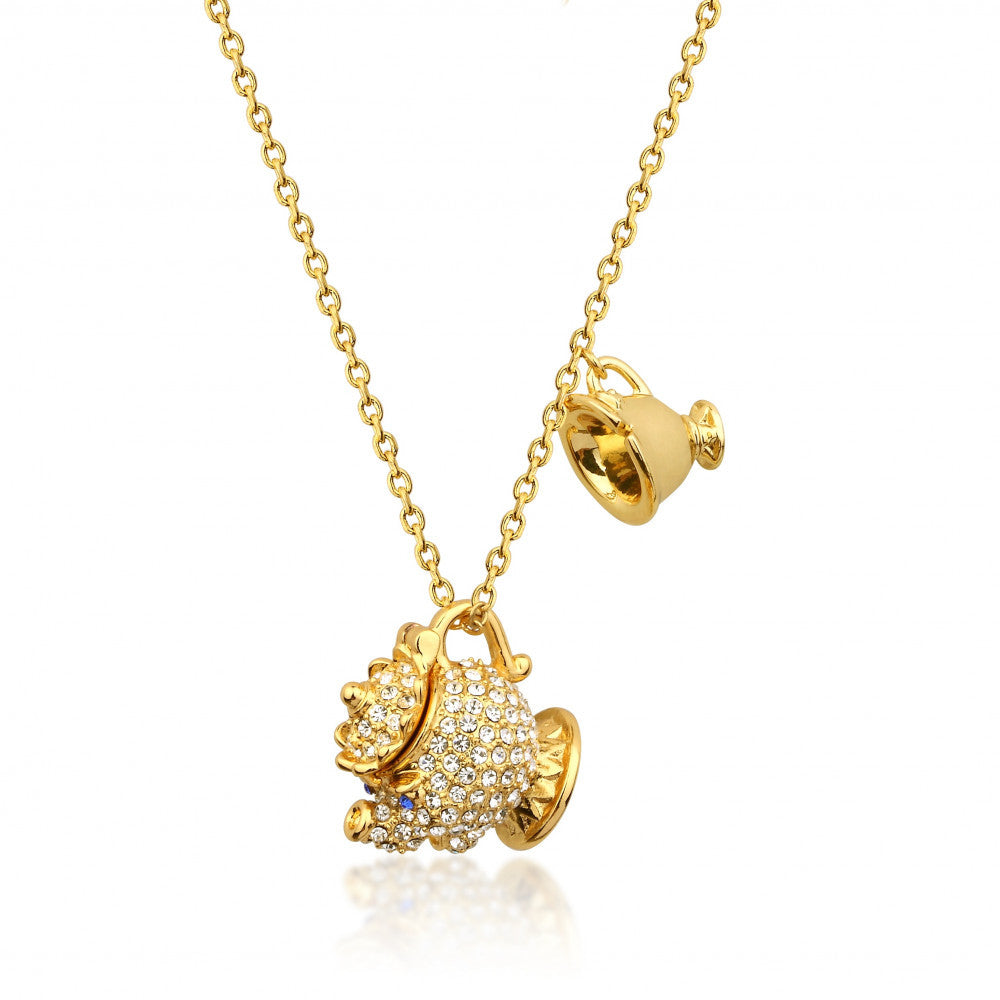 Disney Couture | Beauty & the Beast Gold-Plated Crystal Mrs Potts & Chip Necklace