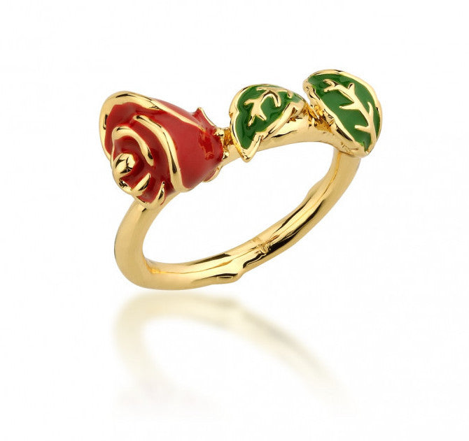 Disney Couture | Beauty & the Beast Gold-Plated Enamel Enchanted Rose Ring