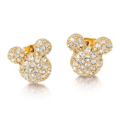 Disney Couture | Large Gold Pave Crystal Mickey Mouse Earrings - lucylovesneko - 1