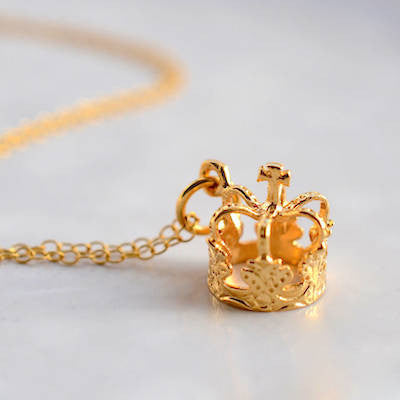 Lily Charmed Crown Necklace in Gold Vermeil - lucylovesneko