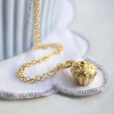 Lily Charmed Eat Me Cupcake Necklace in Gold Vermeil - lucylovesneko