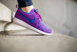 "Womens Nike Roshe Run Flyknit ""Fuchsia Flash/Game Royal"""