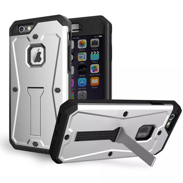 iPhone 6s 6 Plus Silver Tank Tough Armor Protective Case - Mavasoap - 1