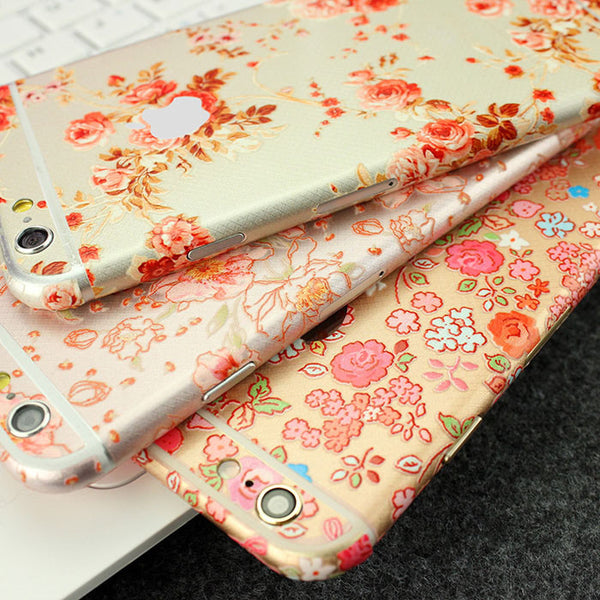 Roses Flowers Pattern Decal Wrap Skin Set iPhone 6s 6 / iPhone 6s 6 Plus - Mavasoap - 2