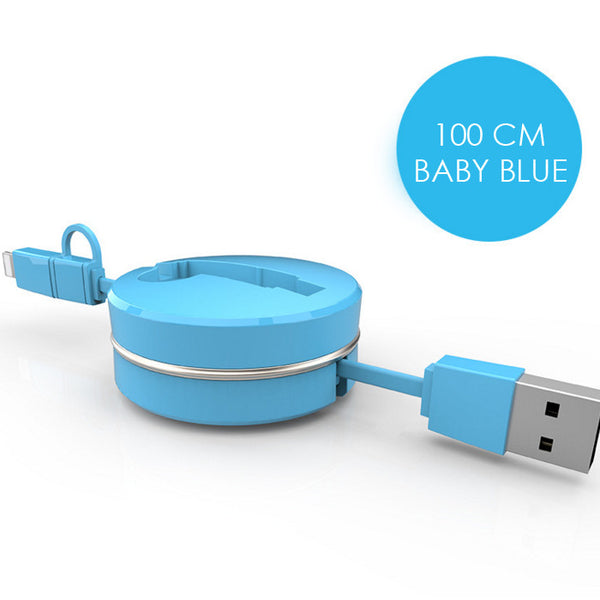 2 in 1 USB to Micro USB Lightning Retractable Cable (Blue) - Mavasoap - 2