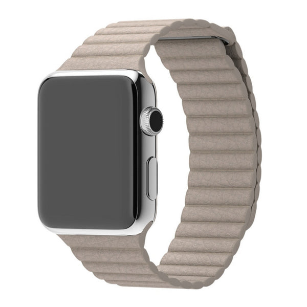Apple Watch Beige Leather Loop Band Strap - Mavasoap - 1