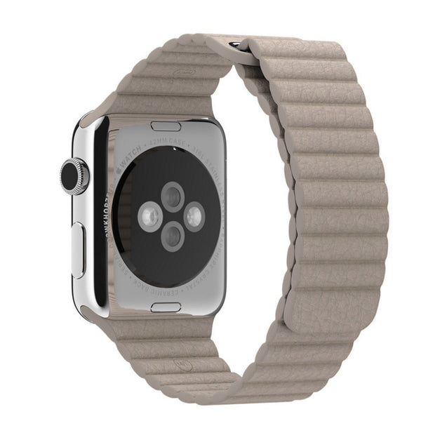 Apple Watch Beige Leather Loop Band Strap - Mavasoap - 2