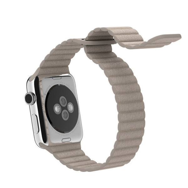 Apple Watch Beige Leather Loop Band Strap - Mavasoap - 3
