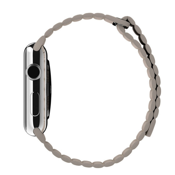 Apple Watch Beige Leather Loop Band Strap - Mavasoap - 5