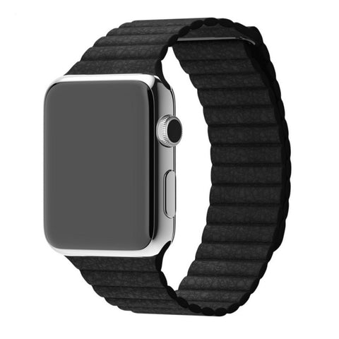 Apple Watch Black Leather Loop Band Strap - Mavasoap - 1