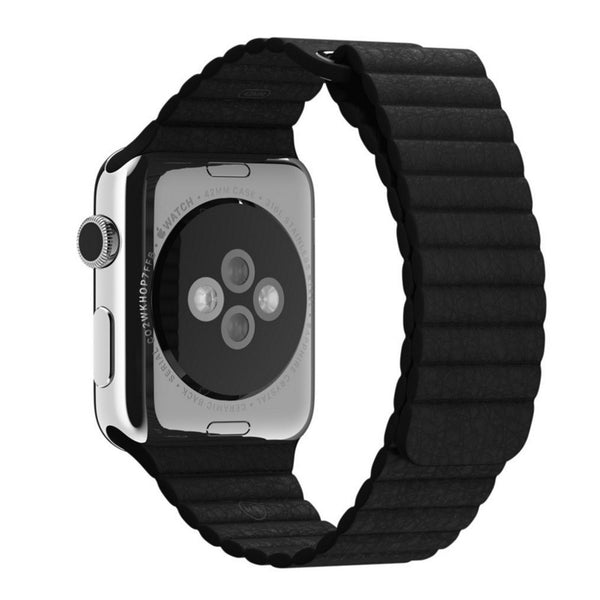 Apple Watch Black Leather Loop Band Strap - Mavasoap - 2