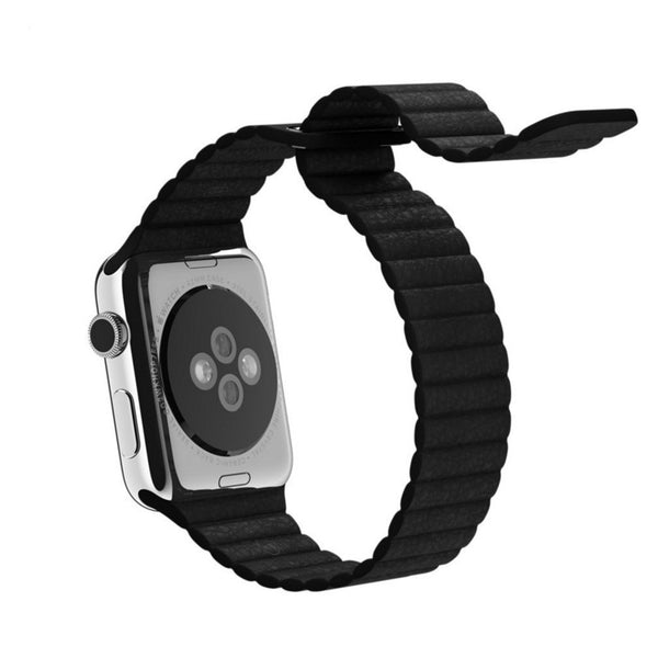 Apple Watch Black Leather Loop Band Strap - Mavasoap - 3
