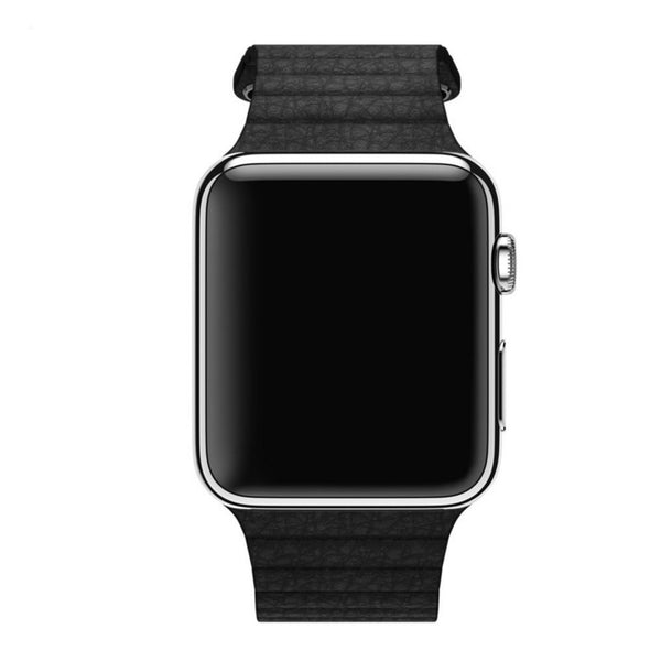 Apple Watch Black Leather Loop Band Strap - Mavasoap - 4