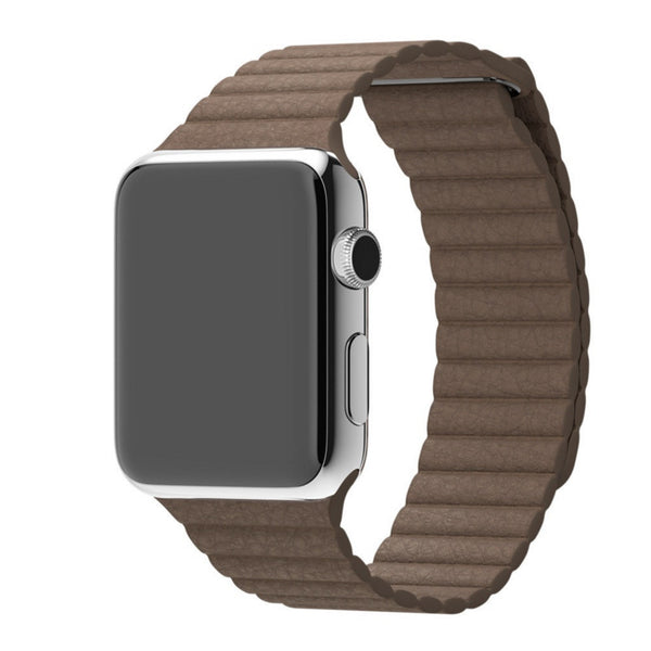 Apple Watch Light Brown Leather Loop Band Strap - Mavasoap - 1