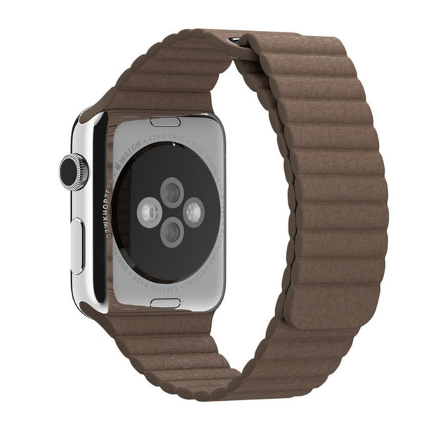 Apple Watch Light Brown Leather Loop Band Strap - Mavasoap - 2