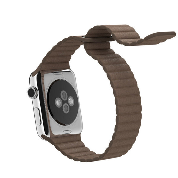 Apple Watch Light Brown Leather Loop Band Strap - Mavasoap - 3