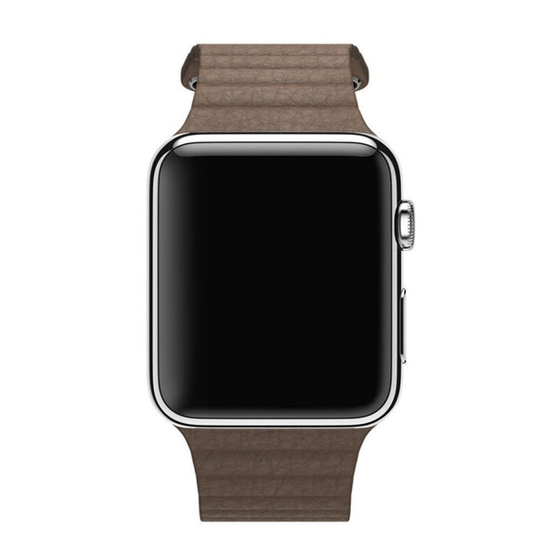 Apple Watch Light Brown Leather Loop Band Strap - Mavasoap - 4