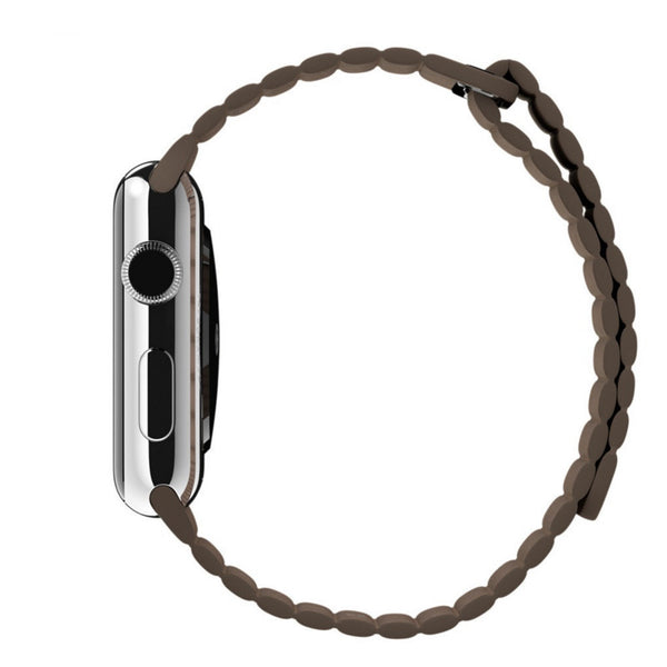 Apple Watch Light Brown Leather Loop Band Strap - Mavasoap - 5