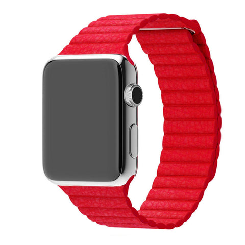 Apple Watch Red Leather Loop Band Strap - Mavasoap - 1