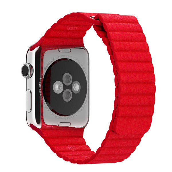 Apple Watch Red Leather Loop Band Strap - Mavasoap - 2