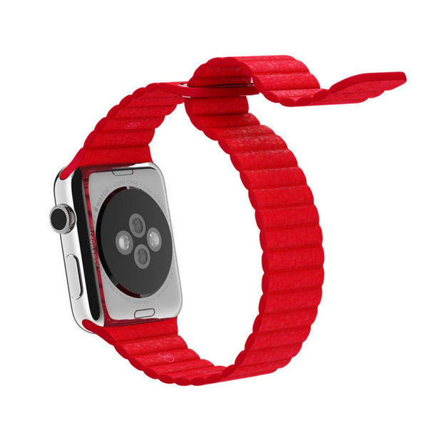 Apple Watch Red Leather Loop Band Strap - Mavasoap - 3