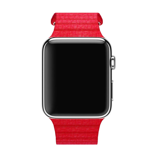 Apple Watch Red Leather Loop Band Strap - Mavasoap - 4
