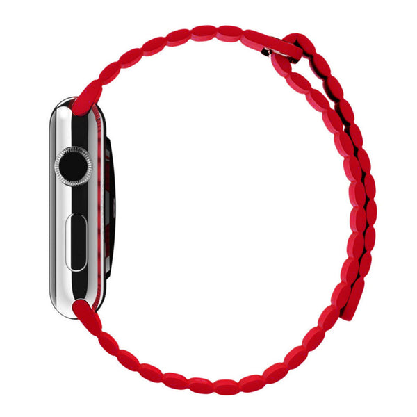Apple Watch Red Leather Loop Band Strap - Mavasoap - 5