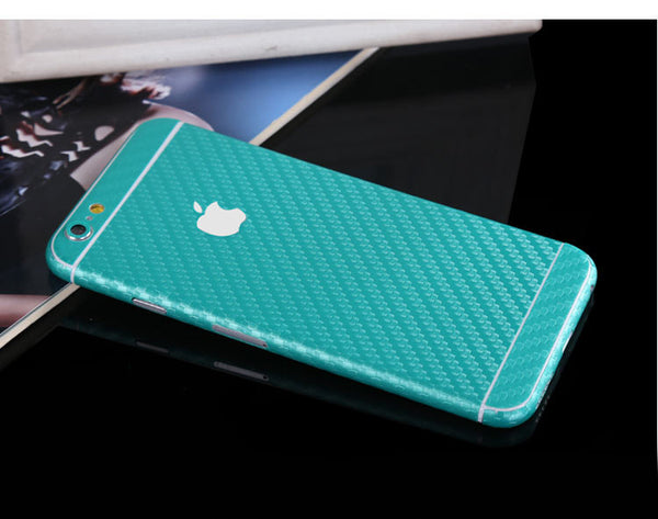 Aqua Carbon Fiber Decal Wrap Skin Set iPhone 6s 6 / iPhone 6s 6 Plus - Mavasoap - 1