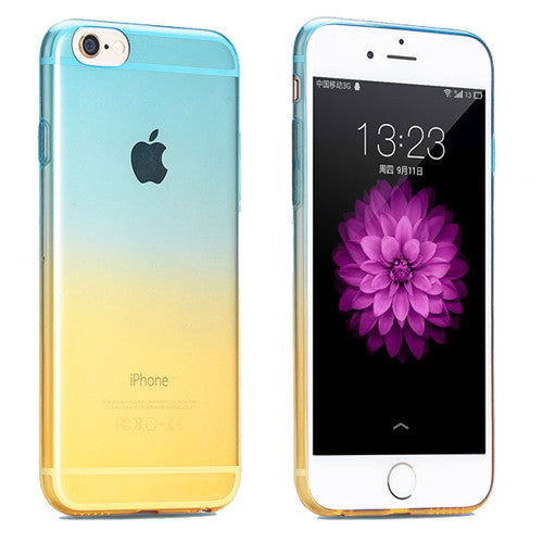 Aqua to Yellow Gradient Soft Clear Case Back Cover for iPhone 6s 6 Plus SE 5s 5 - Mavasoap - 1