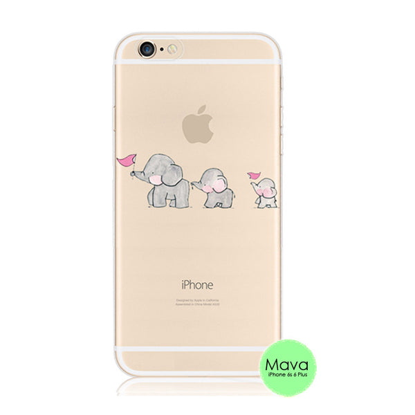 Baby Elephant iPhone 6s 6 Plus SE 5s 5 Soft Clear Case - Mavasoap