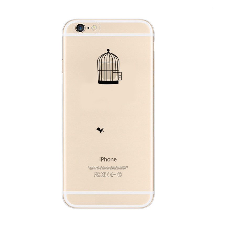 Bird Cage iPhone 6s 6 Plus SE 5s 5 Soft Clear Case Printed silicone - Mavasoap